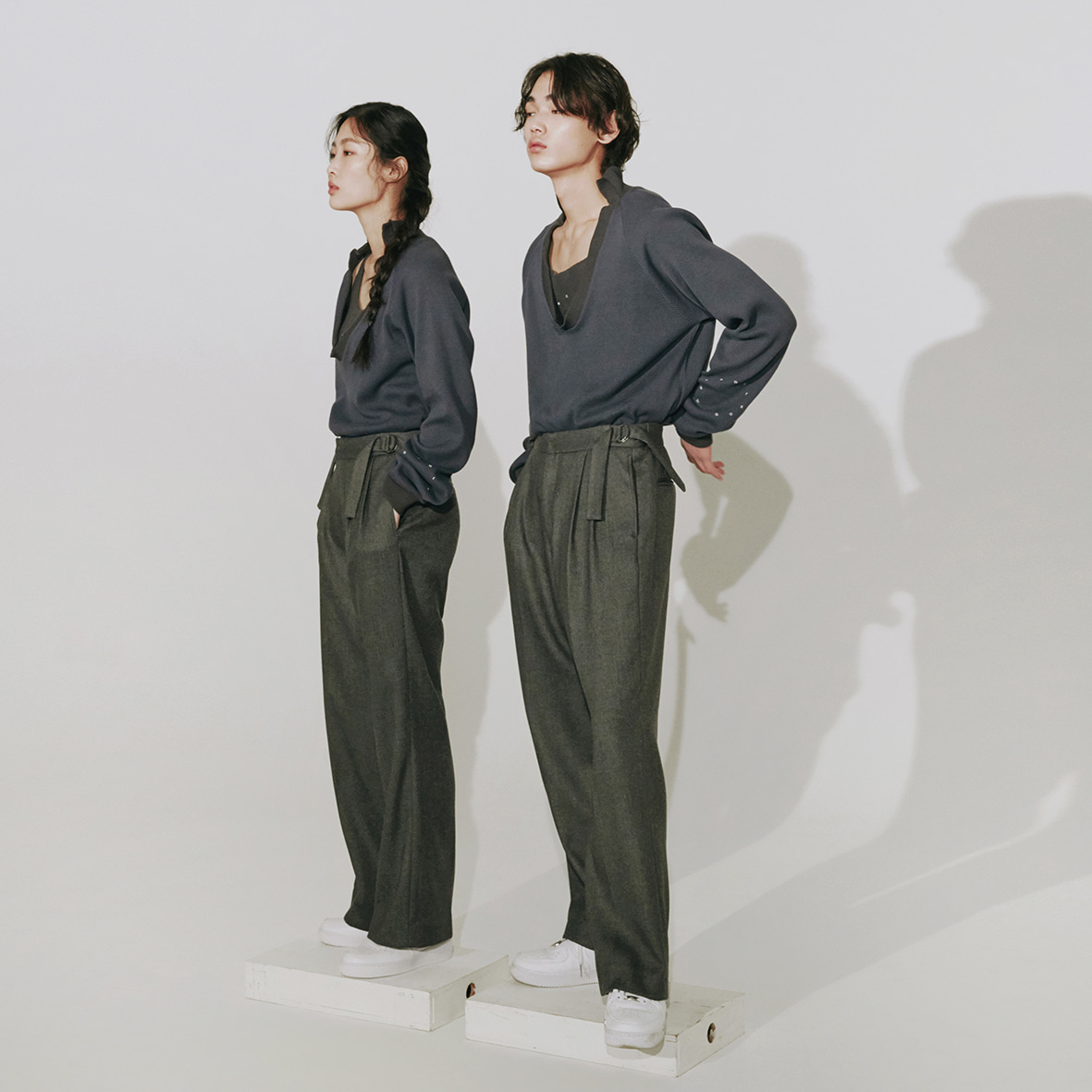 [2차]two tuck pants (charcoal)
