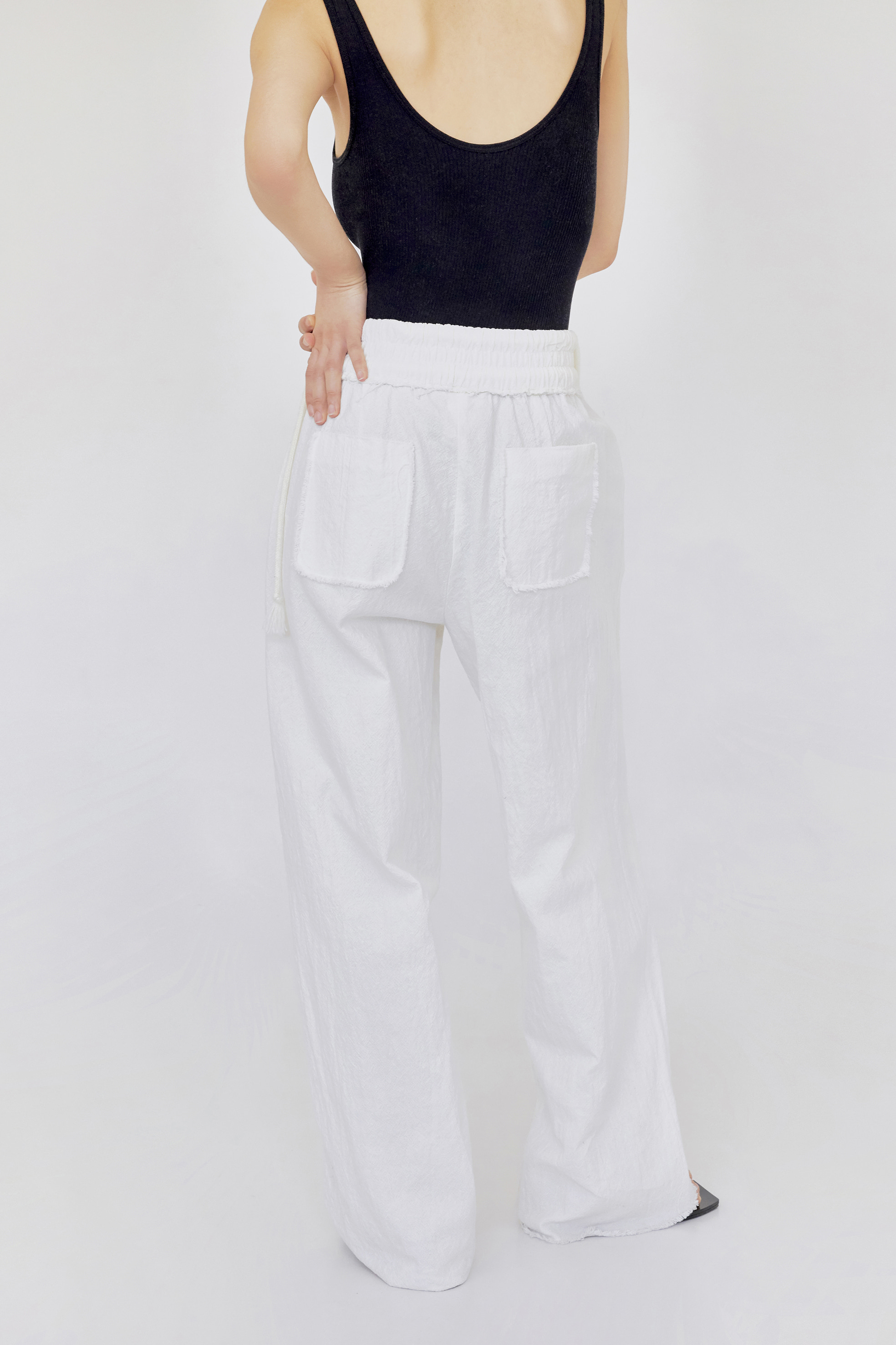 raw cut pants (white)